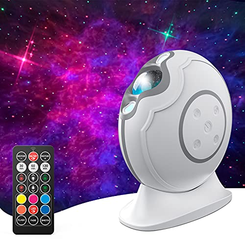 AIRSEE Star Projector, Galaxy Projector with Led Aurora Laser Nebula, Night Light Rechargeable Projector with Remote Control & Auto-Off Timer for Adults Kids, Bedroom Ceiling, Theatre, Party, White