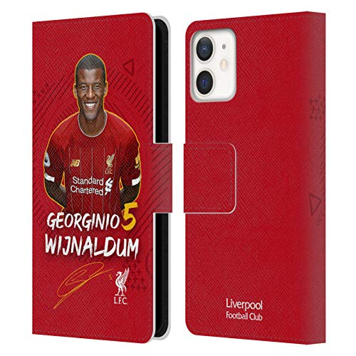 Offizielle Liverpool Football Club Georginio WIJNALDUM 2019/20 Erstes Team Gruppe 1 Leder Brieftaschen Handyhülle Hülle Huelle kompatibel mit Apple iPhone 12 Mini