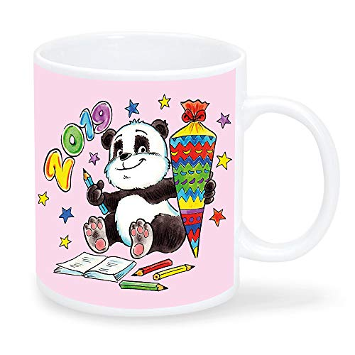 Taza de plástico para niños, diseño de oso panda con bolsa de escuela, personalizable con el nombre deseado, rosa, azul, amarillo o verde