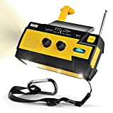 [Upgraded Version] Raddy SW3 4000mAh Emergency Radio Hand Crank Solar-Powered, FM/AM/NOAA Weather Radio with 3 Types of Flashlight, SOS Alarm, Reflective Strip, Cell Phone Charger(Yellow)