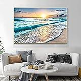 LTGBQNM Moderno Simple Mar Sunrise Beach Mar Scenic Lienzo Pintura Pintura Póster Nordic Wall Art Paisaje Imagen Decoración del hogar 24x36inchx1 No Frame