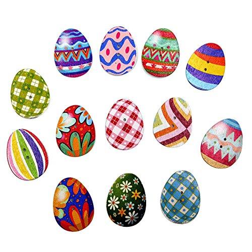Gaoqi 100 Piezas de Botones de Madera Mezclados para Pintar Huevos de Pascua con 2 Orificios para Coser Manualidades