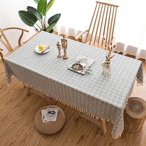HB life Tischdecke Tischtuch Tischwäsche Tischdekoration Tafeltuch hochwertig Karierte Quaste aus Baumwolle und Leinen Pflegeleicht Garten Zimmer Tischdekoration (140x 260cm, Helles Cyan)