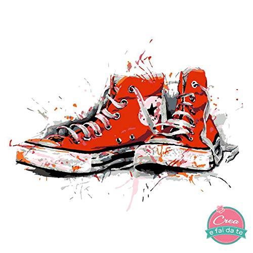 Roze startset voor knutselen op canvas, acrylverf – schilder met de cijfers – paar sneakers – afmetingen 30 x 30 cm