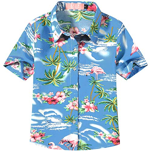SSLR Big Girl's Flamingos Casual Button Down Short Sleeve Hawaiian Shirt (Small(7-8), Blue(518-2))