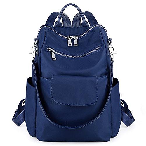 UTO Backpack Purse for Women 3 Ways Ladies Nylon Rucksack Handbag Waterproof Oxford Cloths Shoulder Bag Blue