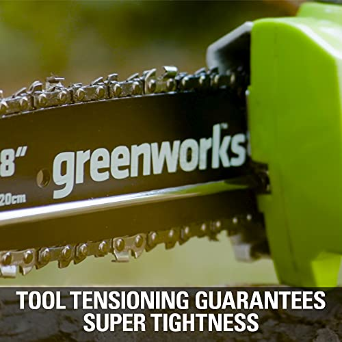 Greenworks 40V 8-inch Cordless Pole Saw with Hedge Trimmer Attachment 2.0Ah Battery and Charger Included, PSPH40B210