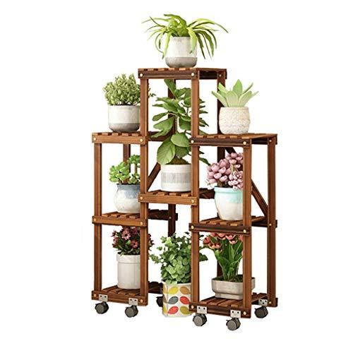 Estante de madera maciza anticorrosiva con 5 niveles para macetas, estante de madera de múltiples capas, estante de almacenamiento con ruedas – 78 x 25 x 95 cm