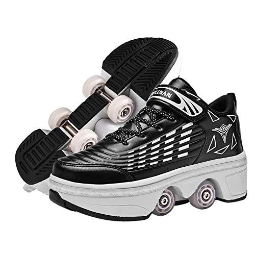 RDJSHOP Unisex Rollschuhe 2 in 1 Multifunktionale Deformierte Schuhe, Parkour Schuhe für Erwachsene/Kinder, Einziehbarer Rollschuh,Black-EU37/UK4.5