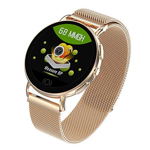YOLANDE Smartwatch, hartslagmeter, smartwatch, bluetooth, waterdicht, IP67, fitnesstracker, activiteitstracker, roségoud meshband