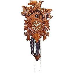 Alexander Taron Importer 522-1 Engstler Weight-Driven Cuckoo Clock - Full Size - 9.25 H x 6.75 W x 6 D, Brown
