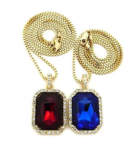 Collier de ton or /à pendentif de J/ésus cha/îne cubique l.2 mm L.61 cm d/écor/é de pierres de Strass rouges fonc/ées