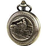 Orologio da tasca antichi uomini - 3D vapore treno ferrovia Ruman numeri ManChDa Caso di bronzo meccanico automatico per gli uomini le donne con scatola regalo catena