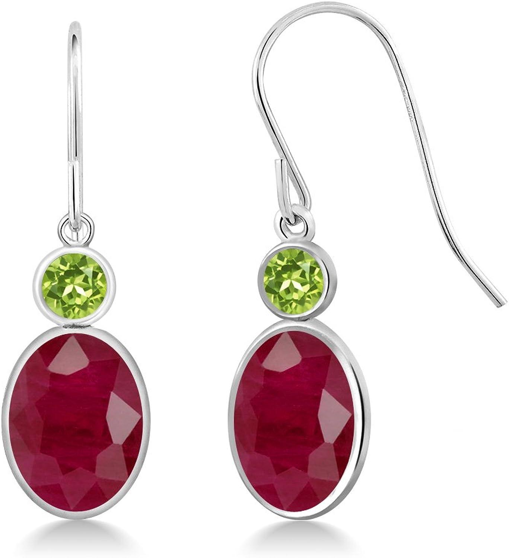 4.02 Ct Oval Red Ruby Green Peridot 14K White gold Earrings