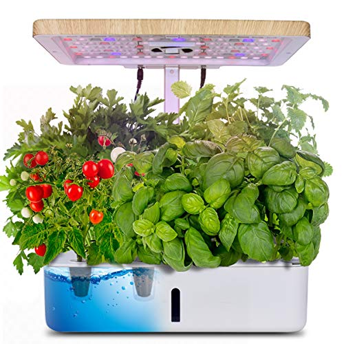 Moistenland Hydroponics Growing System,Indoor Herb Garden Starter Kit w/LED Grow Light,Plant Germination Kits 12 Plant Pots for Home Kitchen Gardening (12 Pots)