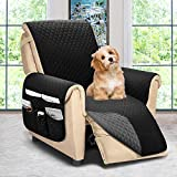 Reversible Recliner Chair Cover, Sofa Covers for Dogs,Sofa Slipcover,Couch Covers for 3 Cushion Couch,Couch Protector(Recliner Oversize:Black/Dark Grey)