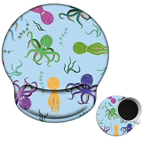 Mouse Pad with Wrist Support Gel, AUOX Ergonomic Mouse Pad with Comfortable Wrist Rest, Gaming Mousepad Non-Slip PU Base for Laptop Office Working Home Easy Typing & Pain Relief, Colorful Octopus
