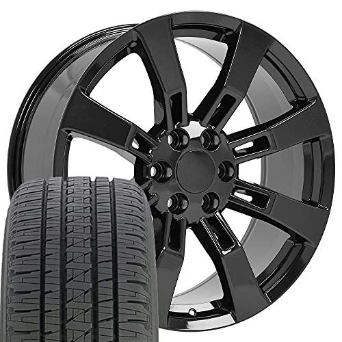 SET of 22x9 Wheels & Tires Fit GMC Chevy Trucks & SUV - Cadillac Escalade Style Black Rims,...