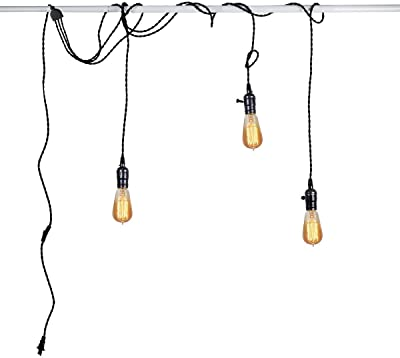 Diy Ceiling Light Pendant Light Black 5 M Cable With Switch And Plug Chandelier 3 Bulbs