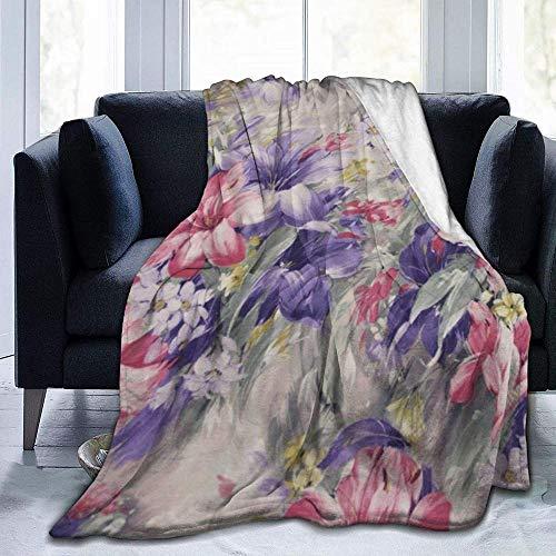 Manta,Manta de Felpa de Microfibra Estampada con Flores moradas y Rosadas para Dormitorio, Sala de Estar, sofá, Cama, sofá para niños y Adultos, 60 x 50 Pulgadas