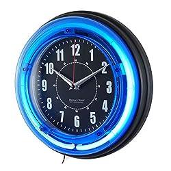 11 Vibrant Blue Neon Analog Wall Clock Home Room Decor