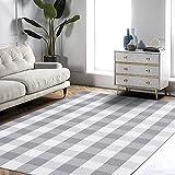 EARTHALL Cotton Buffalo Plaid Check Rug 4'x6' Grey and White Area Rug, Hand-Woven Farmhouse/Living Room/Dining Room/Bedroom/Lounge Washable Retro Lattice Checkered Carpet (47.2''x70.8'')