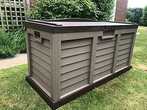 Wasserdichte Plastikgartenbank Speicher Deck Größe 440 l XL,Grey