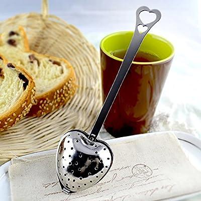 Aolvo Infuseur à thé, EN FORME DE Cœur en acier inoxydable Passoire à thé Infuseur avec poignée pour thé en vrac, Lot de 3