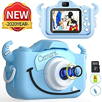 MITMOR Kids Camera Boys Cute Child Digital Camera 32GB Dual Lens 2.0 Inch IPS Color Screen 20.0MP HD Children Digital Cameras Mini Toy Camcorder for 2-14 Years Kids Birthday Holiday Traveling Gift