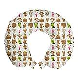 ABAKUHAUS Animaux Oreiller Cervical de Voyage, Animaux Motif de pépinière, Accessoire en Mousse à Mémoire pour Voyage, 30 cm x 30 cm, Off Multicolor Blanc