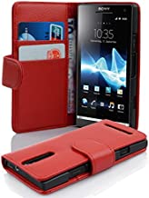 Cadorabo Case Works with Sony Xperia S (Design Book Structure) - with 2 Card Slots - Wallet Case Etui Cover Pouch PU Leather Flip CANDY-APPLE-RED DE-100193