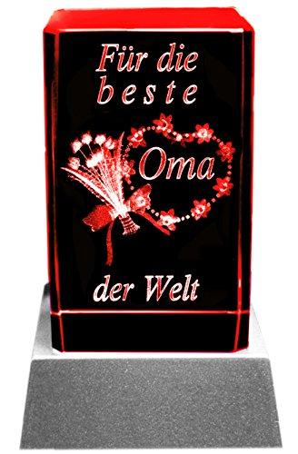 Kaltner Präsente Stimmungslicht - Das perfekte Geschenk: LED Kerze/Kristall Glasblock / 3D-Laser-Gravur Blumen BESTE OMA