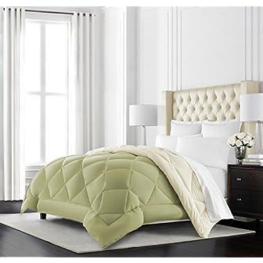 Beckham Hotel Collection Goose Down Alternative Reversible Comforter - All Season - Premium Quality Luxury Hypoallergenic Comforter - Full/Queen - Sage/Ivory