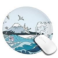 マウスパッド 円形 かわいい オフィス最適 和風 和柄 鶴 波 サクラゲーミング エレコム 防水性 耐久性 滑り止め 多機能 おしゃれ ズレない 直径20cm