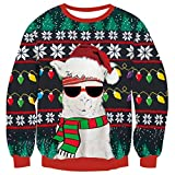 Men Women Ugly Christmas Sweater Holiday Party Xmas Sweater Family Santa Alpaca Llama Glass Snowflake Christmas Light Print Casual Knitted Black Pullover Christmas Jumper