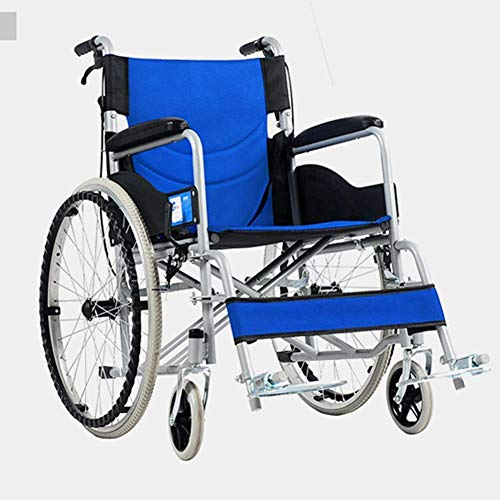 YAeele stoßfest Rollstuhl-Fahr Medical, Thick Stahlrohr Ultra Light tragbare Falten Rollstuhl Trolley Old Roller Wagon Tragbarer Bus-Reise-Stuhl, bewegliche Fußstütze, breit
