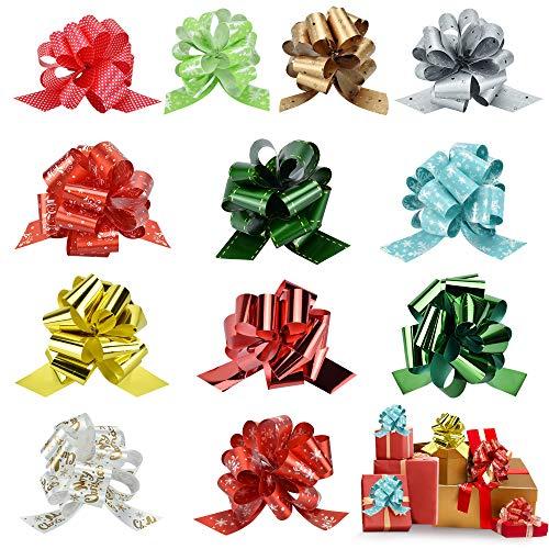 EMAGEREN Weihnachtsschleifen 12 Stuck Geschenkschleifen Groß Metallische Geschenkbänder Weihnachten Schleifenband Pull Bögen Geschenkbänder Geschenkverpackung Bogen Geschkenk Band für Weihnachtsdeko