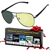 All-In-One Amber Aviator Blue Light Blocking Photochromic Sunglasses + Polarized Night Driving Glasses + Migraine Glasses - Women & Men See Better Day & Night - Sleep Better - Stop Eye Pain, Headaches