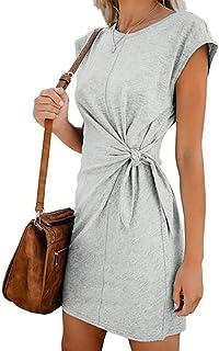 Vestidos Cortos Verano ღSUNNSEAN Vestidosღ Faldas de Color S/ólido Manga Larga Casual Fiesta Noche Desgaste Vestidos Lisos Elegantes de Moda Vestidos Verano Mujer Traje de Vestir