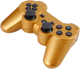 Tivollyff 軽量ポータブルワイヤレスBluetoothジョイスティックゲームコントローラPS3用のリモートコントロールゲームパッドジョイスティック ゴールド