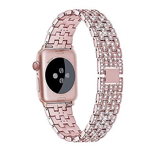 CHENPENG Correa de Metal Compatible con Apple Watch, Diamantes de imitación Pulsera de Metal de Acero Inoxidable Correa de Repuesto Pulsera de Metal de reemplazo de Moda,Rosado,44mm