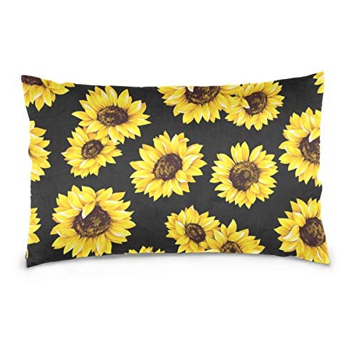 zholing Van Gogh Sunflower Cotton Standard Size Pillowcase 26 X 20 Inches Twin Sides, Tropical Sunflower Pillow Case Sham Cover Protector Decorative for Couch Ded