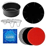 Air Fryer Power Accessories Compatible with Costway, Black and Decker, Bella, Chefman, GoWise, Secura, Posame, Zeny, Hamilton Beach +More | Baking Pan, Cooking Mats, Rack, Liner, Cookbook