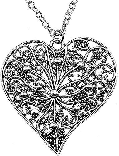 Necklace Women Necklace Men Necklace Large Hollow Carved Heart Pendant Necklace 52X52Mm Antique Silver Color Female Necklace Pendant Necklace Girls Boys Gift