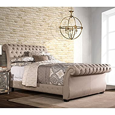 Upholstered Sleigh Bed (King: 84.25 in. L x 81.88 in. W x 47.5 in. H)