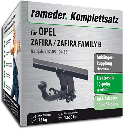 Rameder Komplettsatz, Anhängerkupplung abnehmbar + 13pol Elektrik für OPEL Zafira/Zafira Family B (117038-05425-2)