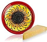 RYBE - Rallador de cocina de parmesano, nuez moscada, jengibre, verduras, manzanas, queso, comida para bebés, plato de rallado, cerámica, rallador de limón, multirallador (rojo).