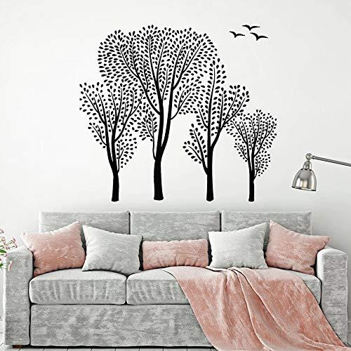 Tatuajes de pared árboles hojas verdes pájaros del bosque paisaje natural vinilo pegatinas de ventana arte dormitorio sala de estar decoración mural