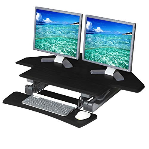 Seville Classics Workstation Ergonomic Dual Monitor Riser with Keyboard Tray and Phone/Tablet Holder airLIFT Height Adjustable Stand Up Desk, Corner (43'), Black