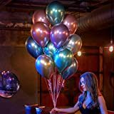 50 Stück Luftballons Metallic,Bunt Verchromte Helium Ballons 6 Metallischen Farben Metallfarbe Dekoration für Vintage Jugendweihe Junge Geburtstag JGA Party Deko (Gold Silber Blau Grün Rosa Lila) - 2